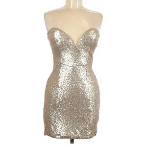 TOBI Sequin Dress Gold Strapless Sweetheart Mini M